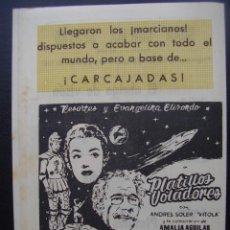 Cine: PLATILLOS VOLADORES Y OTROS, PROGRAMA LOCAL DEL GRAN CINEMA DE SESTAO, 1957. Lote 122945703