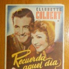Cine: FOLLETO - PELÍCULA - FILM - LARGOMETRAJE - CINE - RECUERDA AQUEL DÍA - CINE TEATRO CARMEN 1944. Lote 122999367