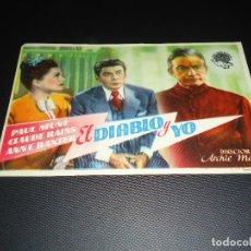 Cine: PROGRAMA DE MANO ORIGINAL - EL DIABLO Y YO - SIN CINE. Lote 123121315