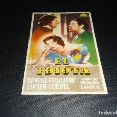 Cine: PROGRAMA DE MANO ORIGINAL - EL IDIOTA - NUEVO CINEMA SAN MIGUEL. Lote 123123915