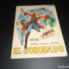 Cine: PROGRAMA DE MANO ORIGINAL - EL JOROBADO - CINE DE ZARAGOZA. Lote 123124795