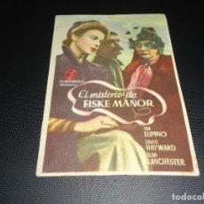 Cine: PROGRAMA DE MANO ORIGINAL - EL MISTERIO DE FISKE MANOR- SIN CINE. Lote 123125347