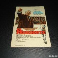 Cine: PROGRAMA DE MANO ORIGINAL - EL PRESIDENTE - SIN CINE. Lote 123125979