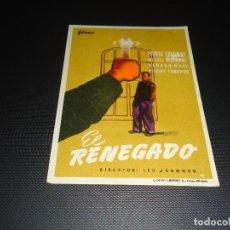 Cine: PROGRAMA DE MANO ORIGINAL - EL RENEGADO - CINE DE ZARAGOZA. Lote 123128767