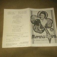 Cine: PROGRAMA DE CINE, MORENA CLARA. IMPERIO ARGENTINA. 1936.. Lote 123283920