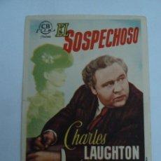 Cine: EL SOSPECHOSO CHARLES LAUGHTON FOLLETO DE MANO ORIGINAL ESTRENO PERFECTO ESTADO. Lote 123346375