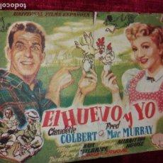 Cine: EL HUEVO Y YO. CLAUDETTE COLBERT. FRED MACMURRAY. GRAN TEATRO BURGOS. Lote 123367023