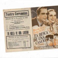 Cine: EN BUSCA DE UNA CANCIÓN ( TEATRO CERVANTES ). Lote 123544399