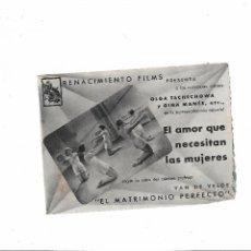 Cine: EL AMOR QUE NECESITAN LAS MUJERES ( SIN PUBLICIDAD ). Lote 123706971