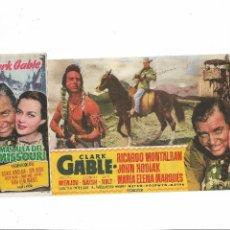 Cine: MAS ALLA DEL MISSOURI ( AMBOS CON PUBLICIDAD - CLARK GABLE ). Lote 124007987