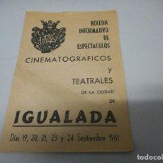 Cine: FOLLETO O PROGRAMA DE MANO 1961. Lote 124225119