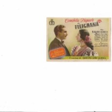 Cine: FILIGRANA ( CONCHITA PIQUER - APARICIO - SELLO CINEMA JARDIN ). Lote 124259231