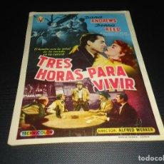 Cine: PROGRAMA DE MANO ORIGINAL - TRES HORAS PARA VIVIR - SIN CINE. Lote 124497599