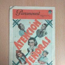 Cine: ATENCION SEÑORAS 1936. CINE. FOLLETO DE MANO DOBLE CON PUBLICIDAD .. Lote 124562811