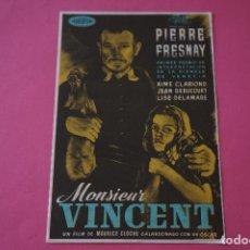 Cine: FOLLETO DE MANO PROGRAMA DE CINE MONSIEUR VICENT CON PUBLICIDAD LOTE 7. Lote 124584503
