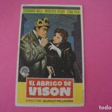 Cine: FOLLETO DE MANO PROGRAMA DE CINE EL ABRIGO DE VISON CON PUBLICIDAD LOTE 7. Lote 124584883