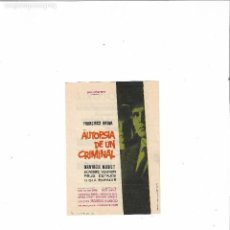 Cine: AUTOPSIA DE UN CRIMINAL ( FRANCISCO RABAL - CINE OLORIZ ). Lote 124597479