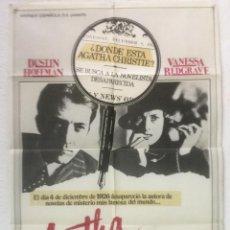 Cine: AGATHA - POSTER CARTEL ORIGINAL - DUSTIN HOFFMAN VANESSA REDGRAVE AGATHA CHRISTIE. Lote 124867939
