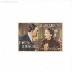 Cine: EL MISTERIO DE MR. WONG ( BORIS KARLOFF - PALACIO CINEMA ). Lote 125332783