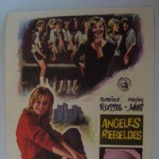 Cine: FOLLETO DE MANO ANGELES REBELDES 1970 CON PUBLICIDAD. Lote 125433335