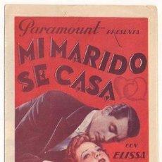 Cine: MI MARIDO SE CASA PROGRAMA ( PARAMOUNT CARY GRANT ELISSA LANDI ). Lote 125766975