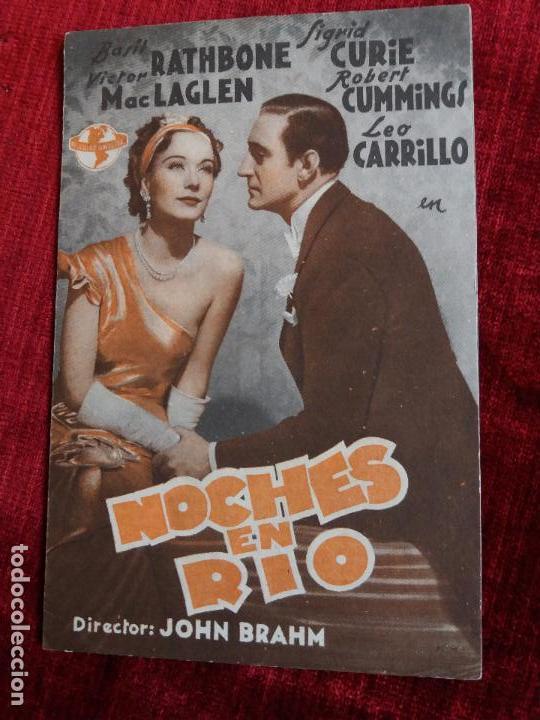 NOCHES EN RIO. BASIL RATHBONE, LEO CARRILLO. CINEMA PROYECCIONES VALDEPEÑAS (Cine - Folletos de Mano - Comedia)