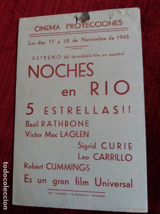 Cine: NOCHES EN RIO. BASIL RATHBONE, LEO CARRILLO. CINEMA PROYECCIONES VALDEPEÑAS - Foto 3 - 125933443