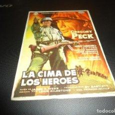 Cine: PROGRAMA DE MANO ORIGINAL - LA CIMA DE LOS HEROES - CINE DE TURON. Lote 125996523