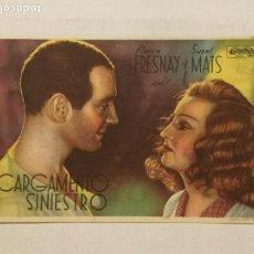 Cine: PROGRAMA DE CINE CARGAMENTO SINIESTRO. TEATRO CIRCO (ZARAGOZA).. Lote 126146975