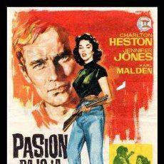 Flyers Publicitaires de films Anciens: FOLLETO DE MANO, PASION BAJO LA NIEBLA, CHARLTON HESTON JENNIFER JONES Y KARL MALDEN. 1965. Lote 126162135