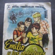 Cine: EMILIO Y LOS DETECTIVES. CINE COLISEO EQUITATIVA ZARAGOZA 1958. Lote 126195307