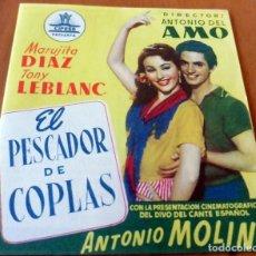 Cine: PROGRAMA DE CINE DOBLE - S/P - EL PESCADOR DE COPLAS. Lote 126503319