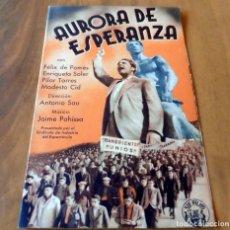 Cine: PROGRAMA DE CINE DOBLE - ORIGINAL - S/P - AURORA DE ESPERANZA - MUY RARO. Lote 126573767