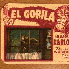 Cine: FOLLETO DE MANO PROGRAMA DE CARTÓN EL GORILA BORIS KARLOFF.TERROR.CON PUBLICIDAD. Lote 126693675