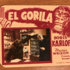 Cine: FOLLETO DE MANO PROGRAMA DE CARTÓN EL GORILA BORIS KARLOFF.TERROR.CON PUBLICIDAD. Lote 126693680