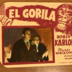 Cine: FOLLETO DE MANO PROGRAMA DE CARTÓN EL GORILA BORIS KARLOFF.TERROR.CON PUBLICIDAD. Lote 126693752