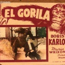 Cine: FOLLETO DE MANO PROGRAMA DE CARTÓN EL GORILA BORIS KARLOFF.TERROR.CON PUBLICIDAD. Lote 126693894