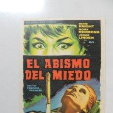 Cine: EL ABISMO DEL MIEDO - FOLLETO MANO ORIGINAL - NIGHTMARE HAMMER FILM FREDDIE FRANCIS DAVID KNIGNT. Lote 126891443