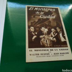 Cine: PROGRAMA DE CINE CARTON. LA MUJER QUE HE CREADO. AÑO METRO. EL MONSTRUO DE LA CIUDAD. 1932-33. Lote 126896926