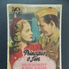 Cine: FOLLETO, PROGRAMA CINE - PRINCIPIO O FIN - CINE ERSA - BALAGUER - AÑOS 40 ...R-9797. Lote 127036515