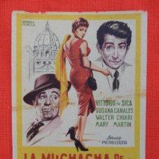 Cine: LA MUCHACHA DE LA PLAZA DE SAN PEDRO, SENCILLO ORIGINAL, VITTORIO DE SICA, SIN PUBLICIDAD. Lote 127187359