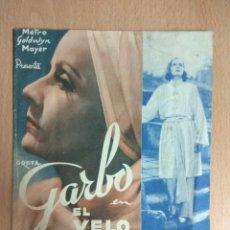 Cine: EL VELO PINTADO - 1935 - FOLLETO DE MANO DOBLE CON PUBLICIDAD. Lote 127249847