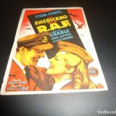 Cine: PROGRAMA DE MANO ORIGINAL - UN AMERICANO EN LA RAF - CON CINE. Lote 127274751