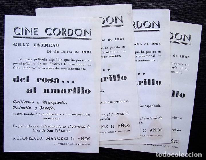 Cine: 4 PROGRAMAS DE CINE: DEL ROSA...AL AMARILLO. CINE CORDÓN. BURGOS.MUY BUEN ESTADO. AÑO: 1964. ESTRENO - Foto 2 - 127485699