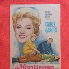 Cine: MENTIROSA, IMPECABLE SENCILLO ORIGINAL, ANGEL GARABA ISABEL GARCES, SIN PUBLICIDAD. Lote 127657475