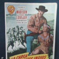 Cine: PROGRAMA DE MANO ORIGINAL - LA CARGA DE LOS JINETES INDIOS - CINE CORDOBA- LINARES- JAEN. Lote 127764967