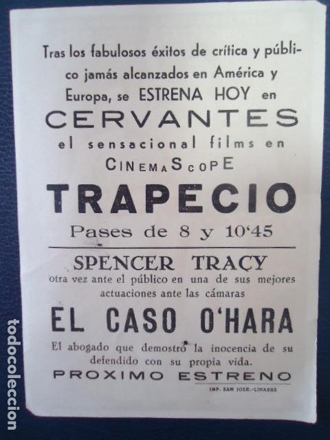 Cine: Trapecio - Burt Lancaster, Tony Curtis, Gina Lollobrigida-CINE CERVANTES- LINARES - JAEN - Foto 2 - 127765683