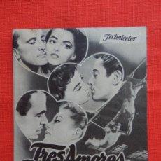 Cine: TRES AMORES, DOBLE, EXCTE. ESTADO, PIER ANGELI, CON PUBLI SALÓN CINEMA MONTBLANCH 1955. Lote 127768639