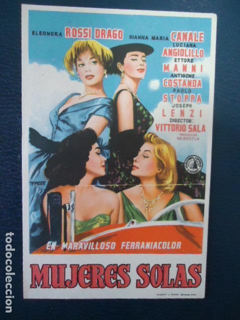 MUJERES SOLAS - FOLLETO DE MANO - SIN PUBLICIDAD (Cine - Folletos de Mano - Comedia)