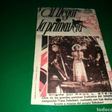 Cine: PROGRAMA DE CINE CARTÓN. AL LLEGAR LA PRIMAVERA. TEATRO ECCHEGARAY DE MÁLAGA. 1935. Lote 127773004